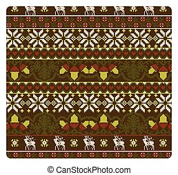 Seamless knitted patern with deer and  branch of an acorn