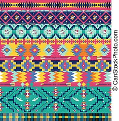Seamless aztec pattern with birds and arrow
