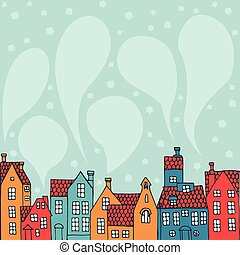 background with houses - Winter background with hand-painted...