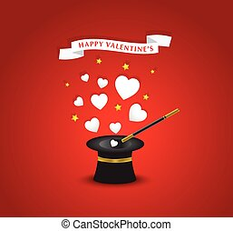 Happy Valentines postcard with hearts coming out of the hat magician