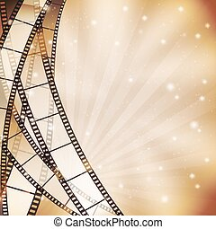 background with filmstrip and stars, stripes, lights