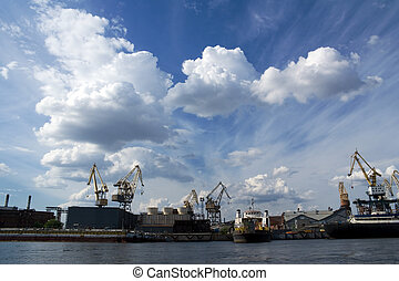 Shipyard - Cranes at shipyard