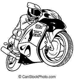 Motorcycle Racing, Hand Drawn illustration