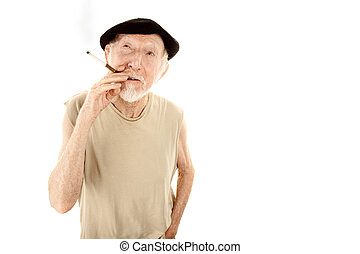Senior man in beret with cigarette