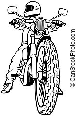 Motorcycle and Driver,  Hand Drawn illustration