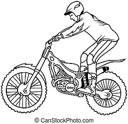 Motocross,  Hand Drawn illustration