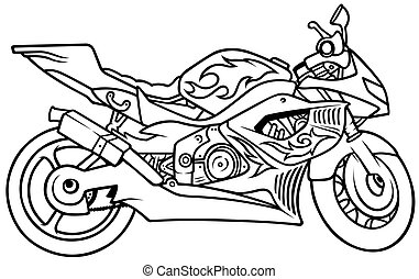 Motorcycle, Hand Drawn illustration