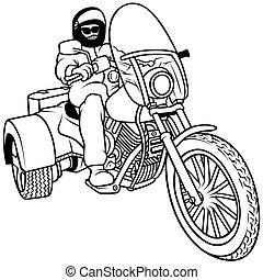 triciclo, motorista