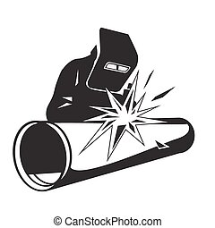 Welder welding pipe - Vector illustration of a welder...