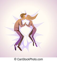 Kissing couple - Illustration of a kissing couple on pink