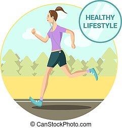 Morning jogging girl