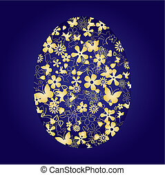 Decorative easter egg on blue background, vector...