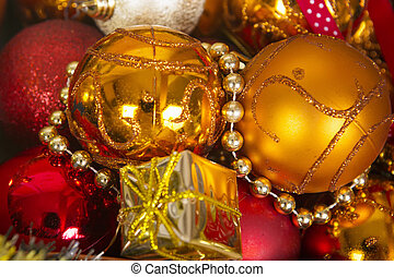 Christmas background with golden and red balls.