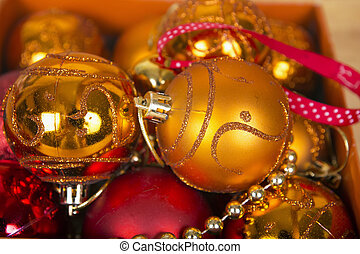 Colored christmas balls in a box - Nice golden and red...