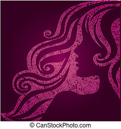 Vector grunge pink illustration of a girl with beautiful...