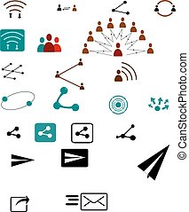 Sharing vector icons - Vector sharing icons. Share, send,...