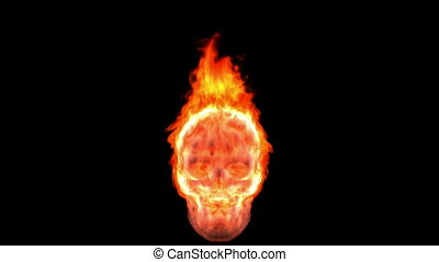 Loopable burning skull. Alpha channel is included