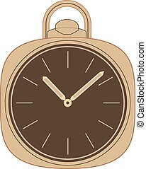 Pocket watch illustration. - Pocket watch with chain...