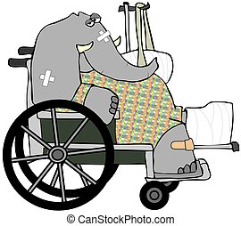Banged Up Elephant - This illustration depicts an elephant...