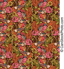 Vintage floral seamless pattern with humming bird