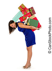Happy shopper - Attractive young woman holding too many...