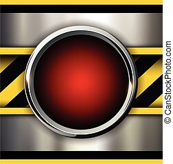 Background with alarm red button and warning stripes, vector...