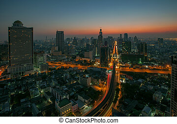 sky scrapper scene of bangkok thailand capital before the...