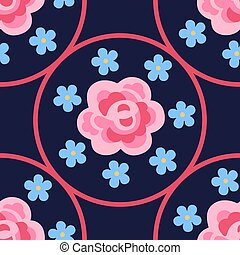Pink rose and forget-me-not pattern - Pink flat rose...