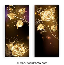 Two banners with gold roses - two banners with gold,...