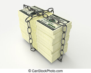 Stack of money wrapped chain - Large stack of money wrapped...