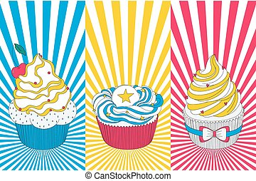 Vector pop art cupcake in bright yellow, blue and red colors...