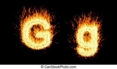 burning G character, capital and small