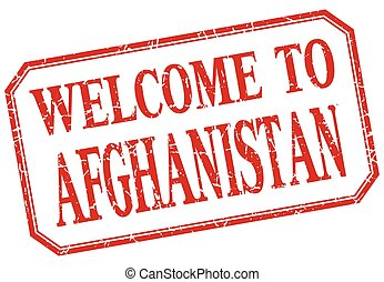 Afghanistan - welcome red vintage isolated label