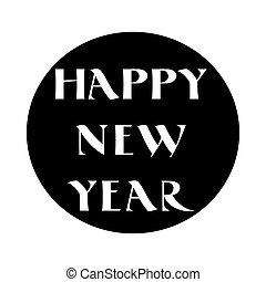 Label with Happy New Year lettering in old style