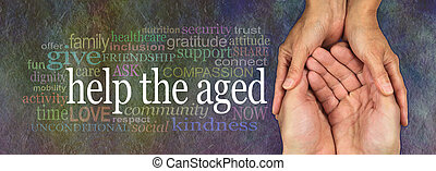 Campaign banner to Help the Aged - Wide banner with a...