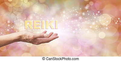 Golden Reiki Healing Energy Share - Female with outstretched...