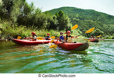 rafting calm water canoes - Several two people team...