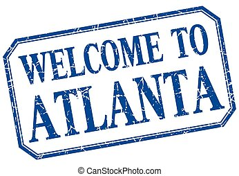 Atlanta - welcome blue vintage isolated label