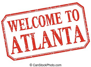Atlanta - welcome red vintage isolated label