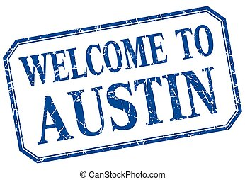 Austin - welcome blue vintage isolated label