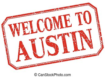 Austin - welcome red vintage isolated label
