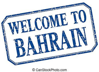 Bahrain - welcome blue vintage isolated label