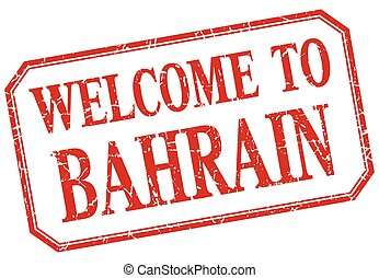 Bahrain - welcome red vintage isolated label