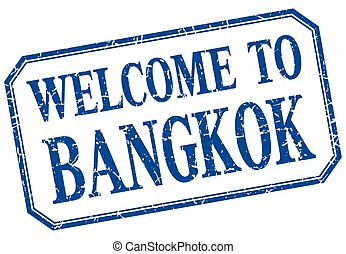 Bangkok - welcome blue vintage isolated label
