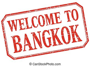 Bangkok - welcome red vintage isolated label