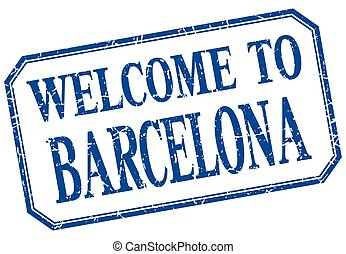 Barcelona - welcome blue vintage isolated label