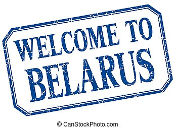 Belarus - welcome blue vintage isolated label