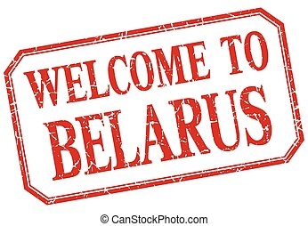 Belarus - welcome red vintage isolated label