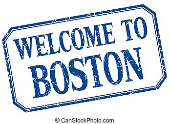 Boston - welcome blue vintage isolated label