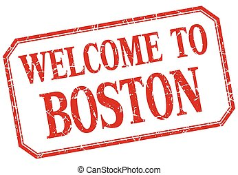 Boston - welcome red vintage isolated label